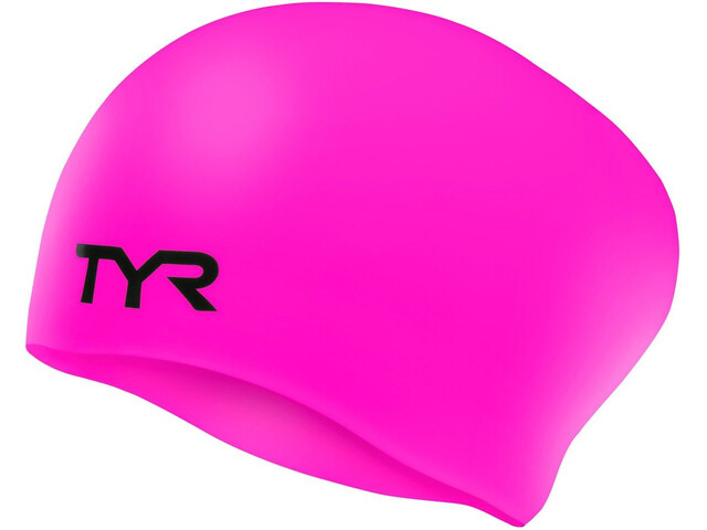 TYR Wrinkle-Free Long Hair Swimming Cap fluo pink